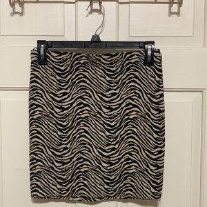 Black & Cream Zebra Print Skirt